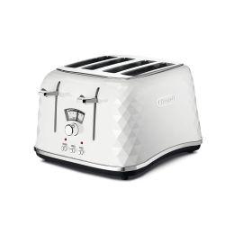 De'Longhi CTJ4003W 1800W Brillante 4-Slice Toaster with Defrost Function