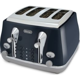 De'Longhi CTOC4003.BL Icona Capitals 4-Slice Toaster with Defrost Function