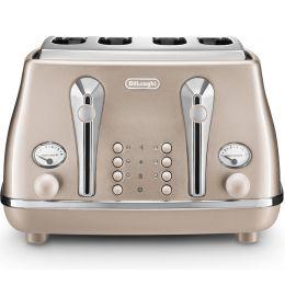 De'Longhi CTOT4003.BG NEW 4 Slice Toaster Icona Metallics Defrost Function Beige