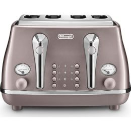 De'Longhi CTOT4003.PK NEW 4-Slice Toaster Wide Slots Icona Metallics - Violet