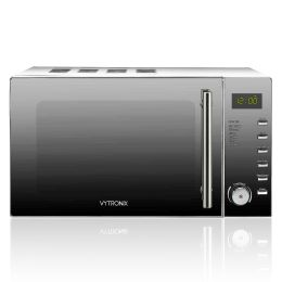 VYTRONIX Digital Microwave Oven 900W 25L 10 Power Level Freestanding Grey/Silver